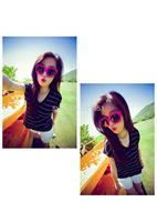 2014 women's V collar short sleeve T-shirt female south Korean striped short-sleeve T-shirt vest free shipping