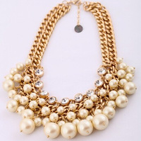 2014 New Choker brand necklace multilayer big pearl necklace women statement Necklaces & Pendants chunky jewelry design 206