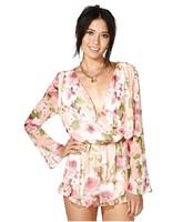 XS-XXL Women 2014 European style Flower Printed Chiffon Deep V Long Sleeve Shorts Jumpsuit Floral Print Shorts  Jumpsuit pants