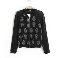 New Outerwear & Coat Skull chiffon stitching leisure female jacket short coat collar  upper garment girl jacket lady clothing