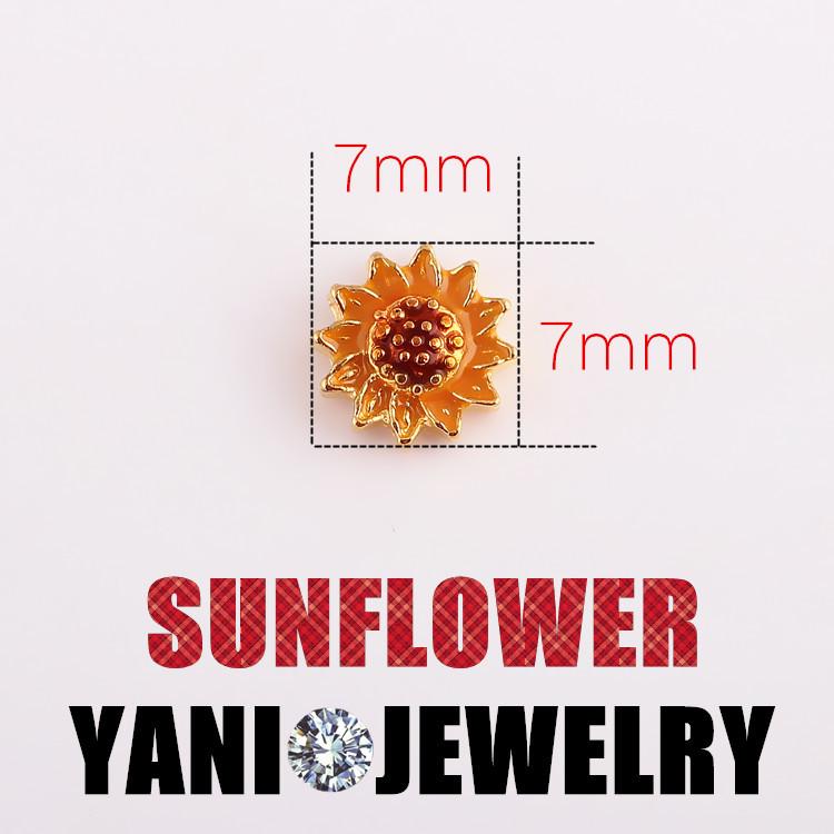 neueste design sonnenblumen schwimmende legierung reize für glas lebendige Erinnerung medaillons großhandelspreis mit kostenlosem versand