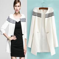 White,Black Classic Stripe New 2014 Blazer Women casacos femininos Basic Jackets women blazer slim coat Blazers suits for women