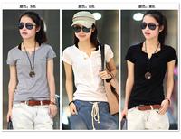 New arrival summer 2014 ms v-neck fashion cotton short sleeve T-shirt garment thin big yards plus large women shirt