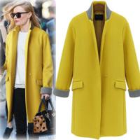 2014 winter fashion street fashion stand collar color block decoration straight slim medium-long cashmere overcoat outerwear