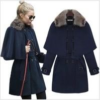 2014 autumn and winter new arrival cloak detachable wool cloak wool coat elegant slim outerwear female