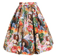 1950s Rockabilly Rose Beauty Lady Floral Printing Retro High Waist Ladies Tutu Pin Up Retro Vintage Style Swing Jive Skirt