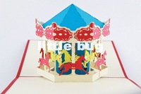 3D Carousel Whirligig Pop up cards Custom Gift cards Creative Kirigami& Origami Invitation cards10pcs/lot Free shipping