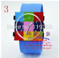 Beautiful-2pcs fashion digital stamps watches Square stamp colorful quartz watch