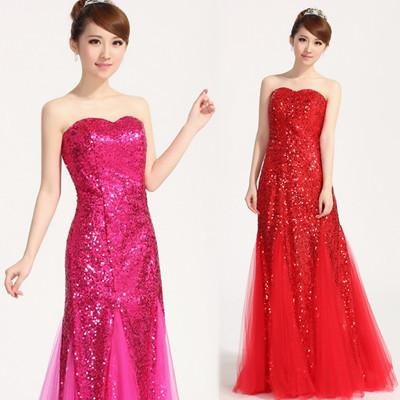 cola de pescado sexy elegante vestido de boda vestido de lentejuelas con la longitud del piso de fiesta de gasa vestido de fiesta por la noche bola de invitados de la boda vestidos de