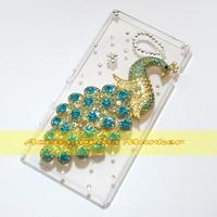 1 Pcs Handmade Bling Diamond Cute Peacock Clear Hard Back Case For Sony Xperia M2 D2303 D2305 D2306 Dual Sim D2302