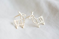 Fashion hollow out the deer stud earrings wholesale free shipping