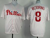 Free Shipping 2014 New Men's Baseball Jerseys Philadelphia Phillies #8 victorino Stripe Jersey China Cheap,Embroidery Logos