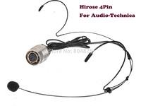 Black Color Headset  Dual ear hook Headworn Wireless Microphone For Audio Technica - Hirose 4pin
