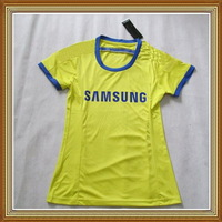 Free Shipping!! Chelsea Away Yellow Women Soccer Jersey 14/15,Thailand Quality Chelsea lady Soccer Shirt+Embroidery Logo