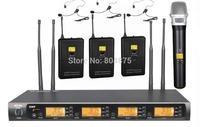 UHF 3 Headset 1 Handheld Wireless Microphone System 4x100 Channel adjust