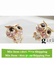 Free Shipping, Z294 crystal pink owl animal eye sexy Girl women woman Lady earring Antique Bronze Bohemian Vintage Stud Earring