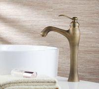 e-pak 8649/19 New Classic Antique Brass Bathroom Basin Sink Deck Mounted Faucet Vanity Vessel Single Handle Mixer Tap Faucet
