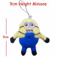 Wholesale H=9cm 40pcs/Lot Cotton Plush Stuffed Minions Pendants Toys/Dolls For Key/Phone/Bag