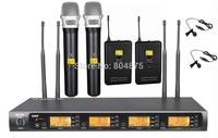 UHF 2 Handheld 2 Lavalier Wireless Microphone System 4x100 Channel adjust