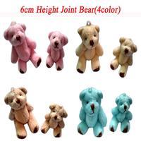 4color Mixed 100pcs 6cm Mini Joint Bear Bare Teddy Bear Doll Cell Phone Pendant Cartoon Plush Stuffed Toy Doll