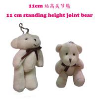 #Beige H=11cm 50pcs Cartoon Tinny Bear/Tactic Bear/Teedy Bear Joint/Bow Bear Plush Pendants Toys/Dolls For Wedding/Key/Phone/Bag