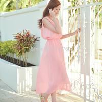 2014 summer bohemia full dress slim expansion bottom sleeveless chiffon one-piece dress
