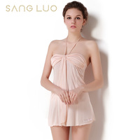 Nightgown female silk new arrival mulberry silk sexy lounge 14 - 159 lacing female silk nightgown