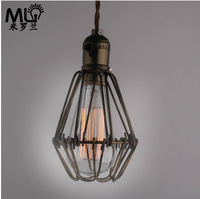 2014 Real New Chandelier Chandeliers Abajur Loft Edison Bulb Cage Countryside Industrial Bar Dinning Room Vintage Pendant Light