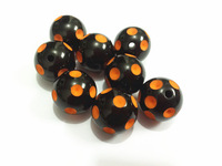 Newest !!20mm 100pcs/lot Black With Orange Polka Dot Beads,Chunky Beads For Kids Necklace Making