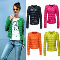 2014 Winter Jacket Women Collarless O neck Winter Coat Women Epaulet Single Breasted Ultralight Down&Parkas Five Colors S - XL