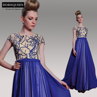 Dorisqueen 31018 New Embroidery+Sequins Cap Sleeve Empire Royal Blue Long Evening Dress 2014 Women Formal Prom Gown Party Dress