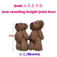 Fashion Pendant 100pcs 3cm Brown Mini Joint Bear Bare Joint Bear Doll Cell Phone Pendant Cartoon Plush Stuffed Toy Doll