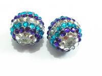 Newest !! 20mm 100pcs/lot  Blue/White/Purple Stripe Resin Rhinestone Beads