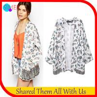New 2014 Women's Print Floral Japan Kimono Jackets Open Stitch Designer Outwear jaqueta feminina Free Shipping