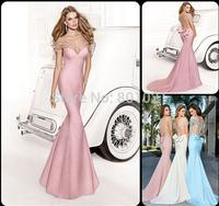 Top 2014 Court Train Off Shoulder vestidos de fiesta Formal Long  Mermaid Tarik Ediz vestido de festa Evening Dress 2014