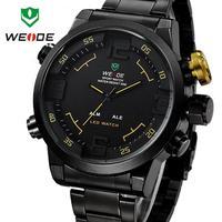 2014 New Sale Hot WEIDE Multi-function Quartz military Watchs  Men Quartz Fashion Casual  Steel LED Wristwatches#WH2309Yellow