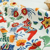 150CM *50CM trojan horse national designer thick cotton canvas table cloth curtain patchwork fabric sewing tecido tissue textile