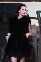 Low Price!!! A fur coat  Women's Short Design Female fox Fur Vest Leather Vest Outerwear Women Coat  dark blue fox fur Faux Fur