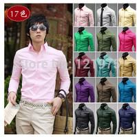 Men's long sleeve shirt white dress business leisure occupation Korean cultivating working Mens Shirt