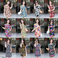 2014 women summer dress vintage slim cheongsam dress  fashion women's short-sleeve desigual print dress gowns roupas femininas