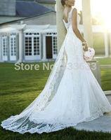 2014 new white bridal train V-neck mermaid wedding dresses lace bridal gown fashion
