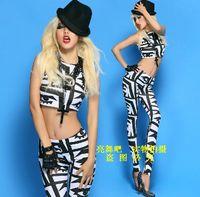 Costumes female singer ds costume jazz dance dj twirled service black and white big eyes twinset
