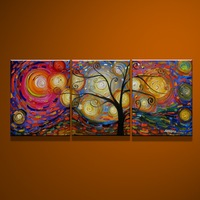 Framed Modern 3 piece Abstract tree Oil Painting on Canvas Art group paintings with frame home decorationFree shipping sa-1213