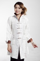White Fashion 2014 New Spring Traditional Chinese womens long Trench Coat Size S M L XL XXL XXXL MN0078