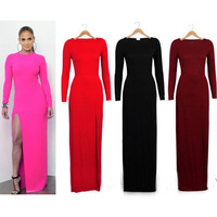 Hot sale summer dress 2014 new Sexy package hip legs split dress long sleeve dress long section wholesale women dress