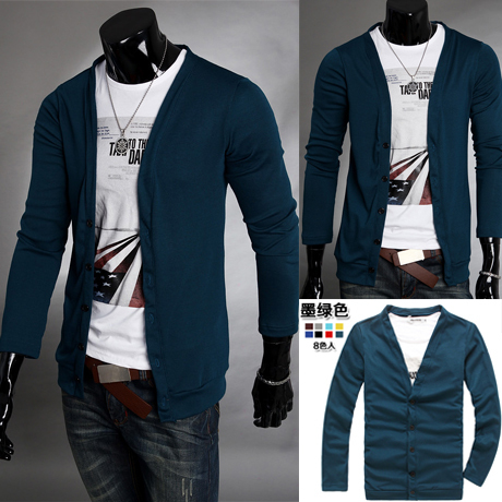 2011 male 100% cotton casual V-neck sweater slim polo cardigan sweater for men fashion cashmere(China (Mainland))