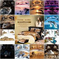 2014 New 3d Tiger comforter bedding sets queen size 4pcs Tiger duvet/quilt cover bed sheet linen bedclothes cotton home textile