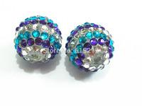 Hot Sale ! 20MM 100pcs/lot Purple/White/Blue  Resin Stripe Rhinestone Beads