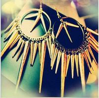Fashion punk accessories rivet  taper personality tassel earrings NOW 2014
