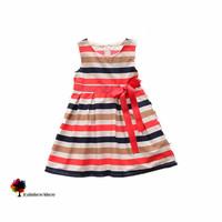 New Children Clothing Summer Girls Colorful Stripes Cotton  Dress Sleeveless Vest Children Dress